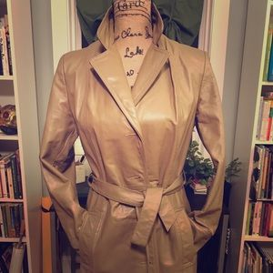 Jackets & Blazers - Full-length, Taupe, Leather Trench-coat